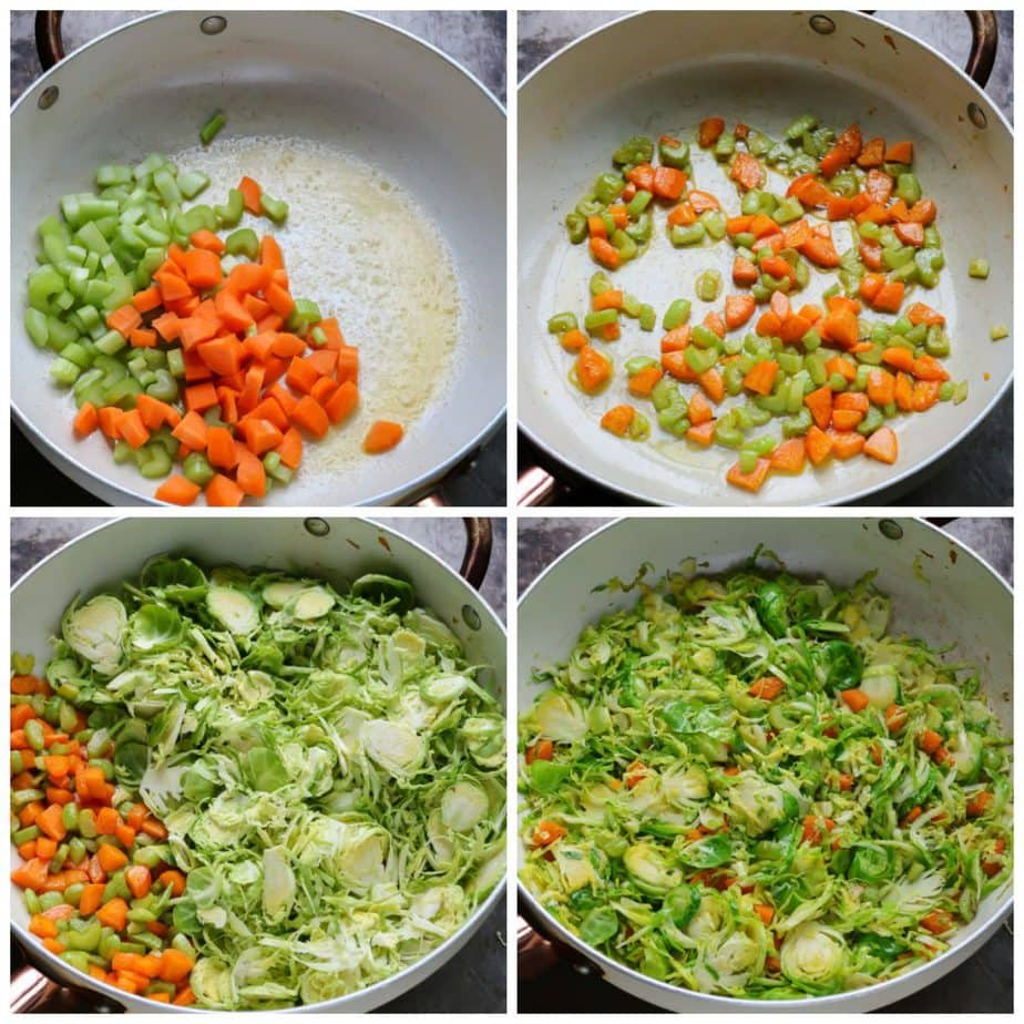 Collage: pan of butter, celery and carrots, pan of them cooked, pan with added sprouts, pan with it all cooked.