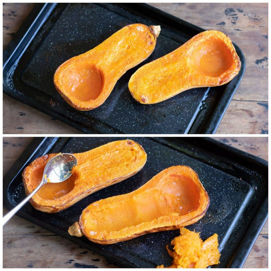 Collage: tray with cooked butternut squash, spoon scooping out some flesh.