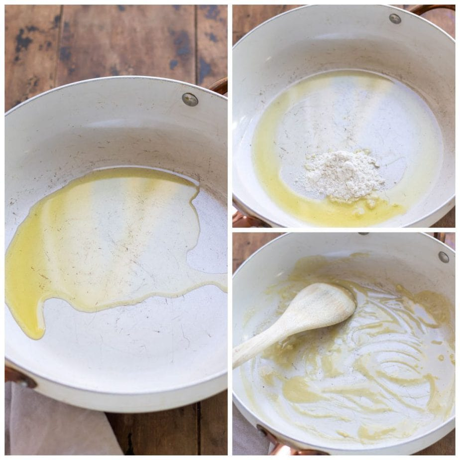 Collage: Oil in pan, flour added, flour stirred in.