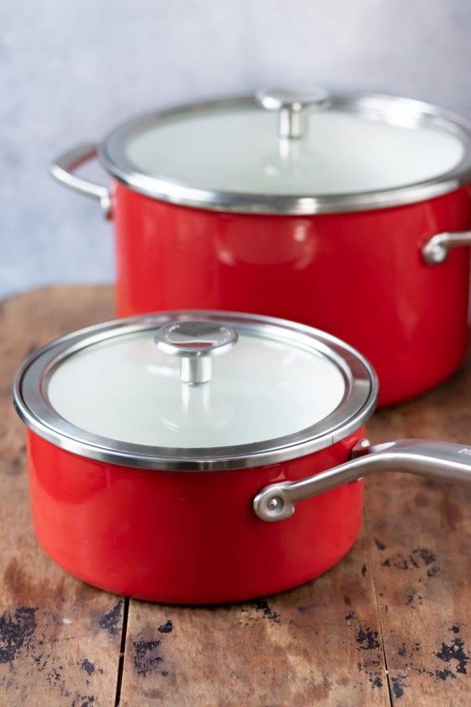 Two KitchenAid pots.