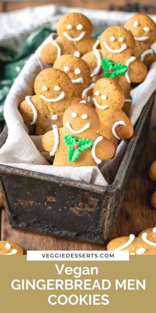 Box of cookies with text: vegan gingerbread men cookies.