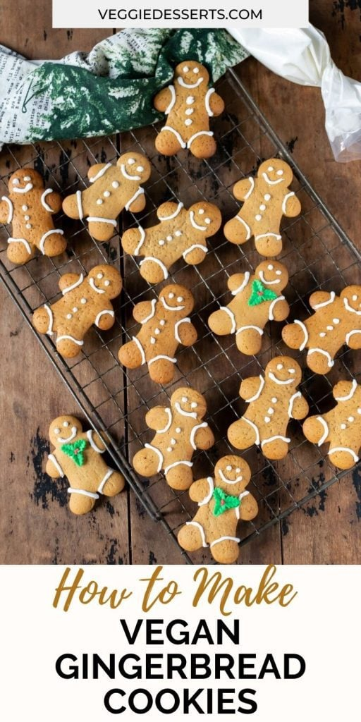 Gingerbread cookies on a wire rack with text: How to make vegan gingerbread cookies.