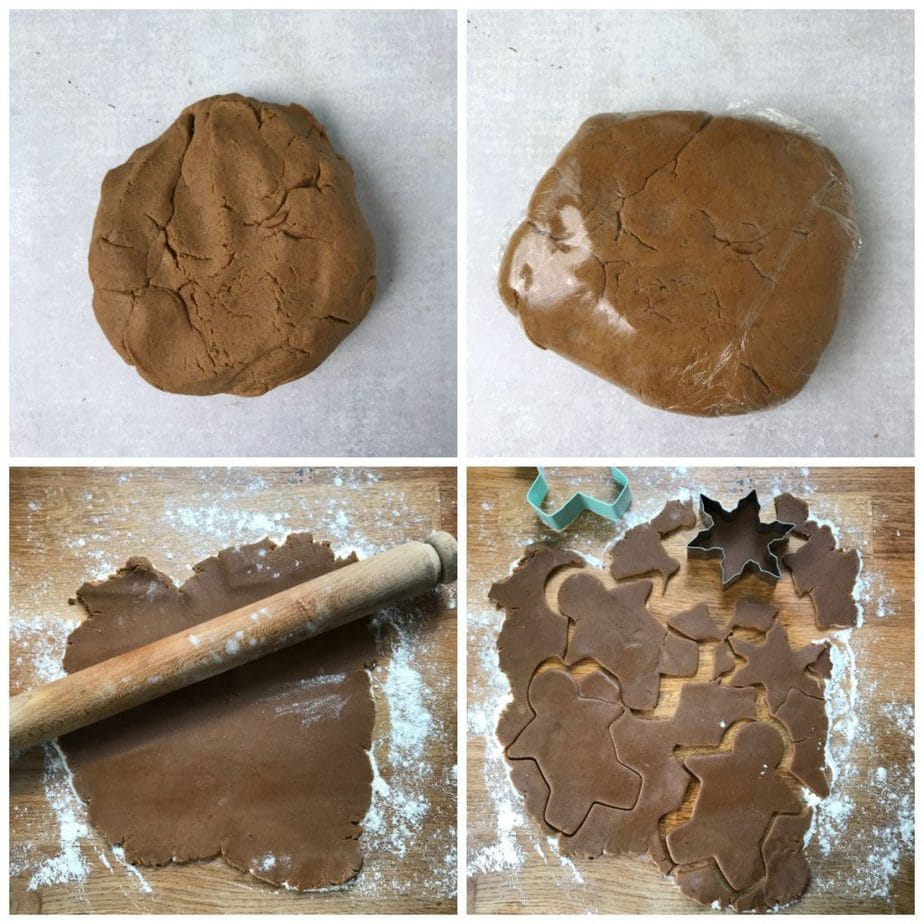 Collage: 1 kneaded dough, 2 wrapped dough, 3 rolled, 4 cookies being cut out.