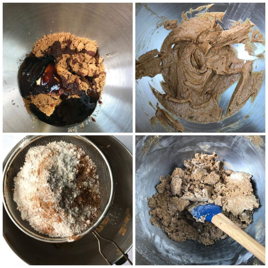 Collage: 1 mixing bowl of molasses, sugar, vegan butter, 2 mixed together, 3 dry ingredients sifted in, 4 mixed together.