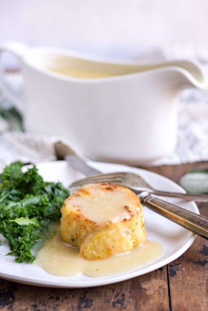 Gravy on a potato gratin.