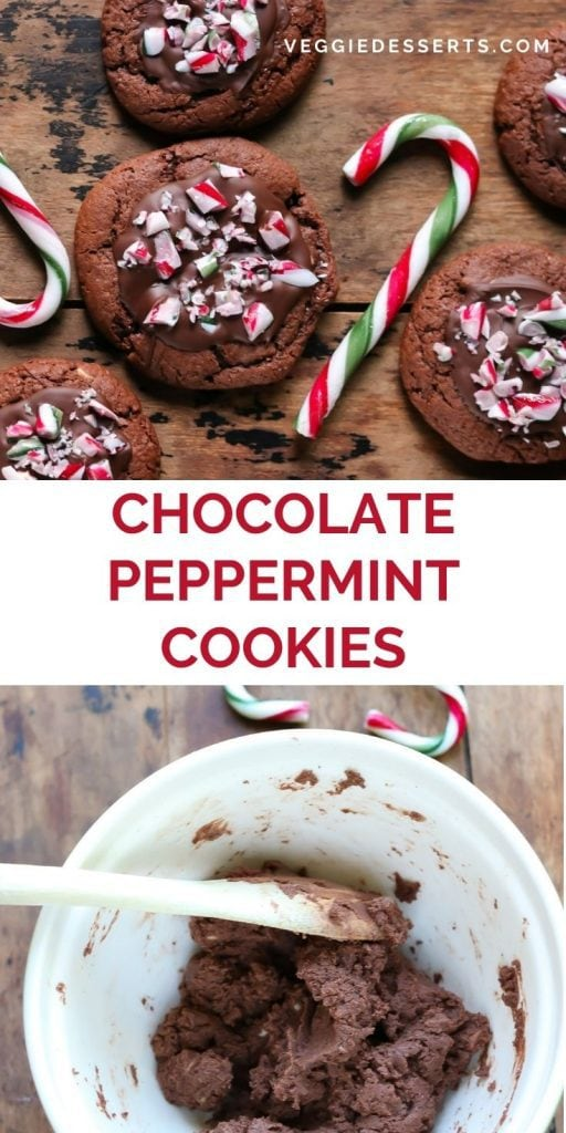Cookies next to candy canes, with text: Chocolate Peppermint Cookies