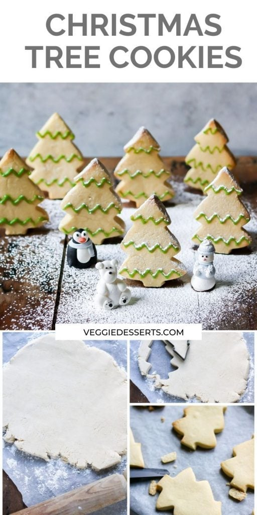 Tree shaped cookies with text: Christmas Tree Cookies