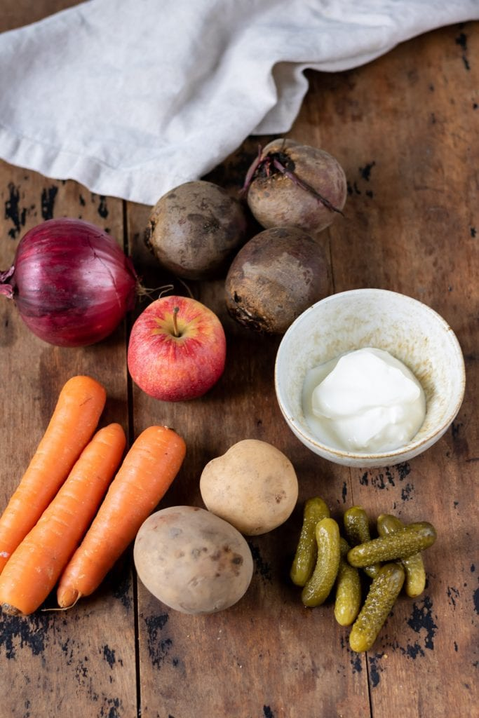 Ingredients for Rosolli on a table.