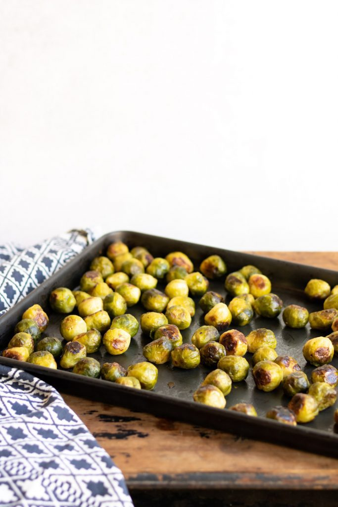 Tray of cooked sprouts.