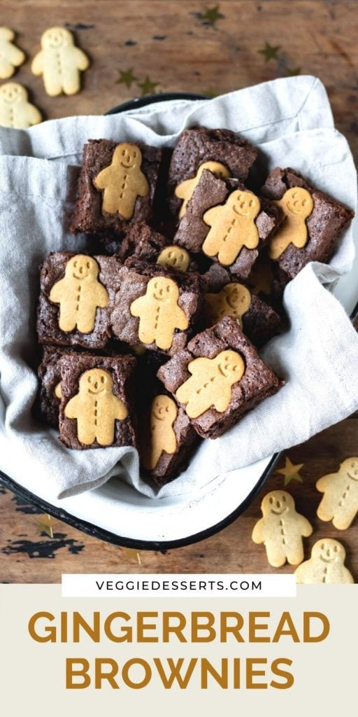 Dish of brownies with text: Gingerbread Brownies.