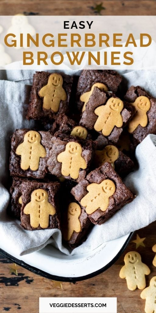 Close up of brownies, with text: easy gingerbread brownies.