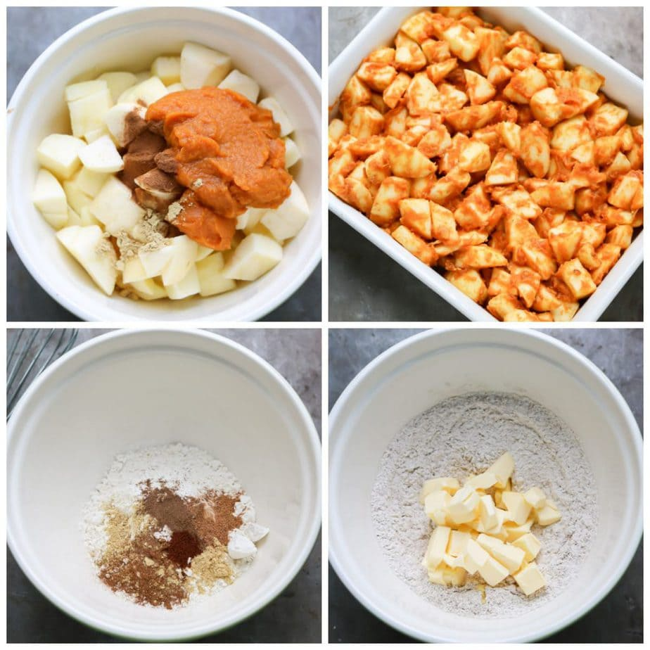 Collage: 1 bowl of apples, spices and pumpkin puree, 2 poured into a baking dish, 3 flour and spices in a bowl, 4 mixed and butter added.