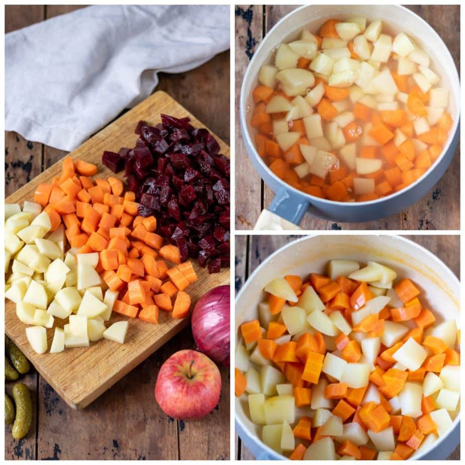 Collage: 1 chopped vegetables on a board, 2: diced potatoes and carrots in a pot, 3 cooked.
