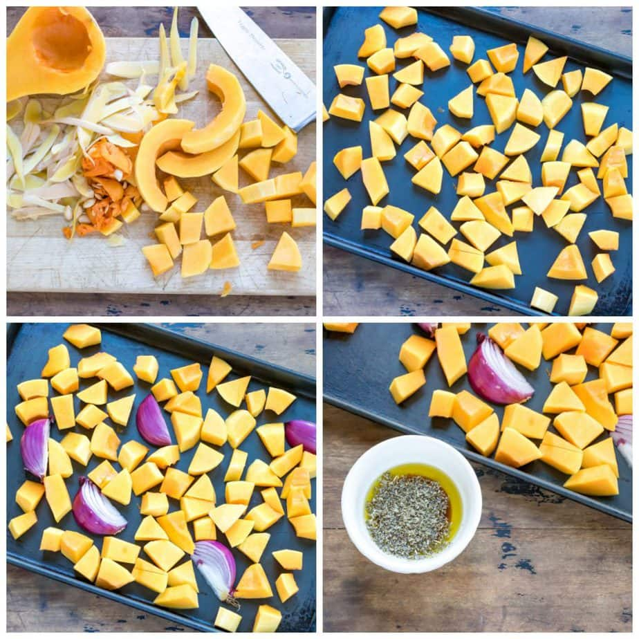 Collage: 1 chopped squash, 2 on a tray, 3 with onion, 4 bowl of sage oil.