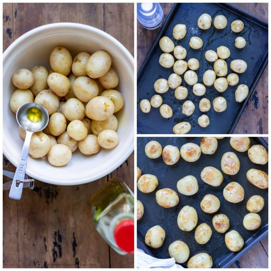 Collage: bowl of new potatoes with oil, spread on a baking sheet, baked.