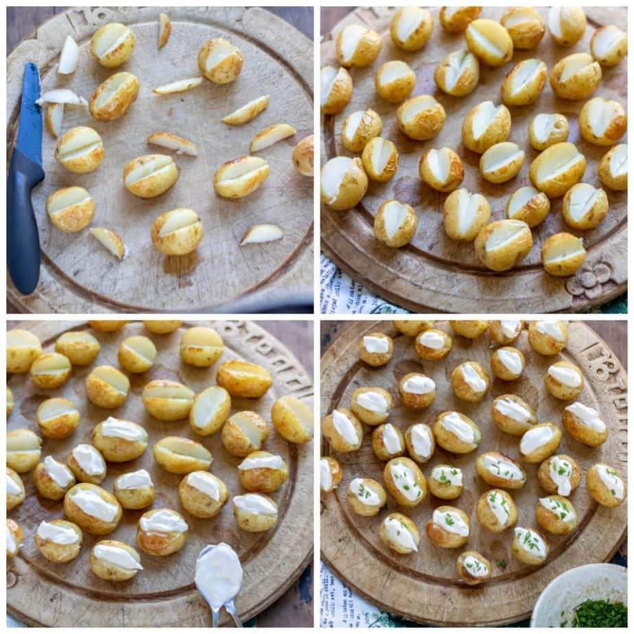 Collage: Cooked potatoes with pieces cut out, filled with sour cream, topped with chives.