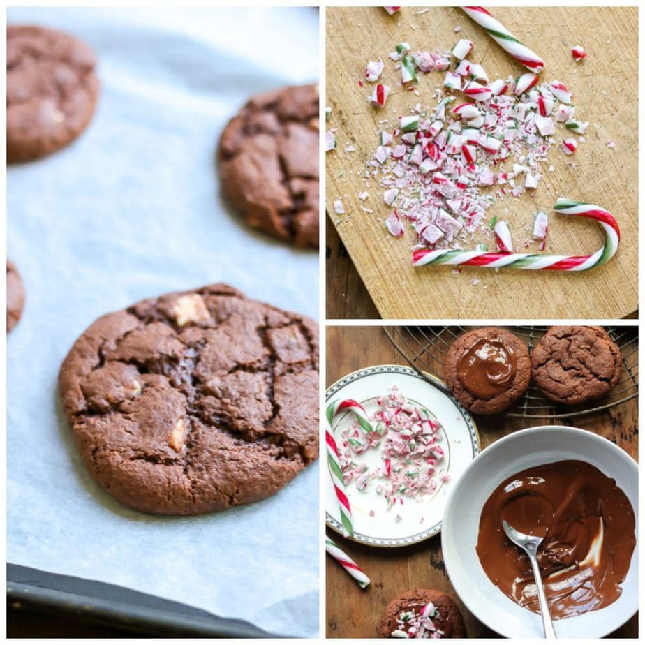 Collage: 1 cookies on tray, 2 crushed candy canes, 3 assembling cookies.