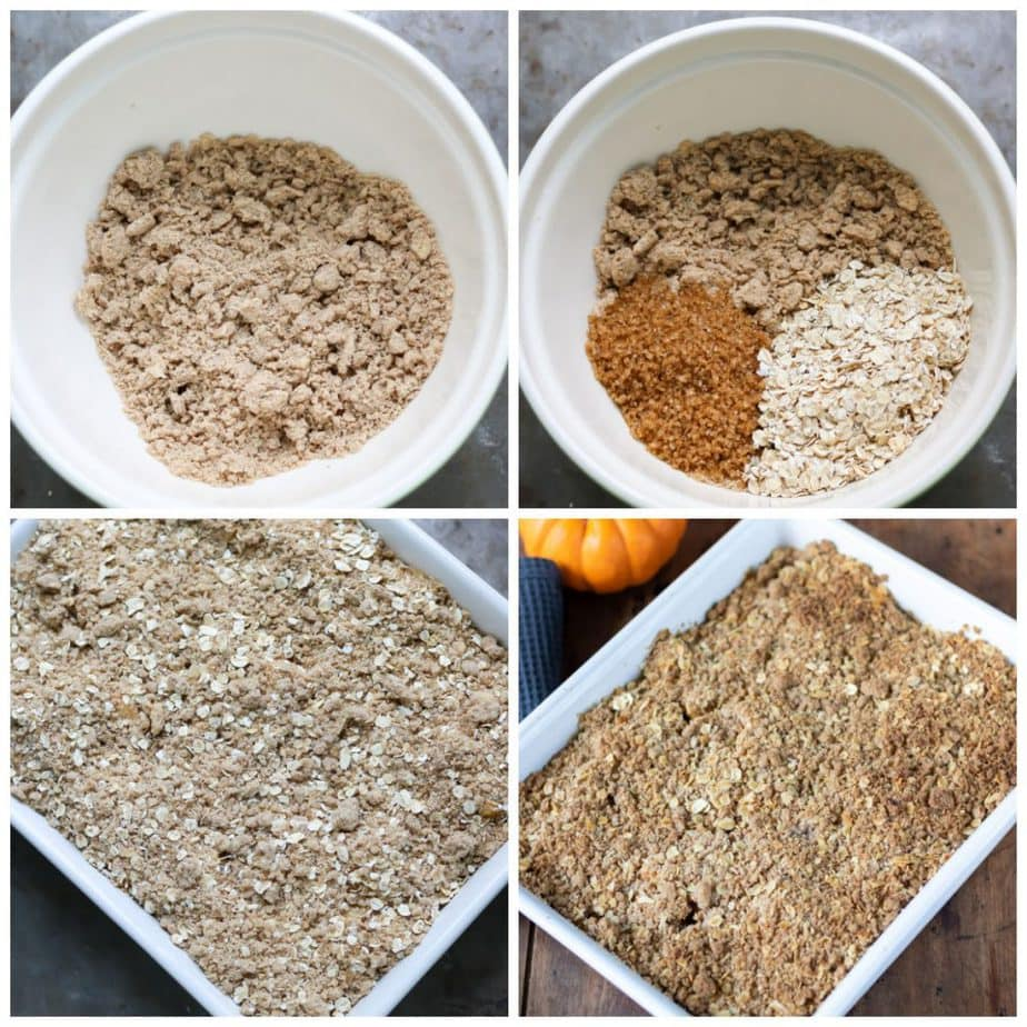Collage: 1 bowl of butter and flour mixed, 2 sugar and oats added, 3 on crumble, 4 baked.