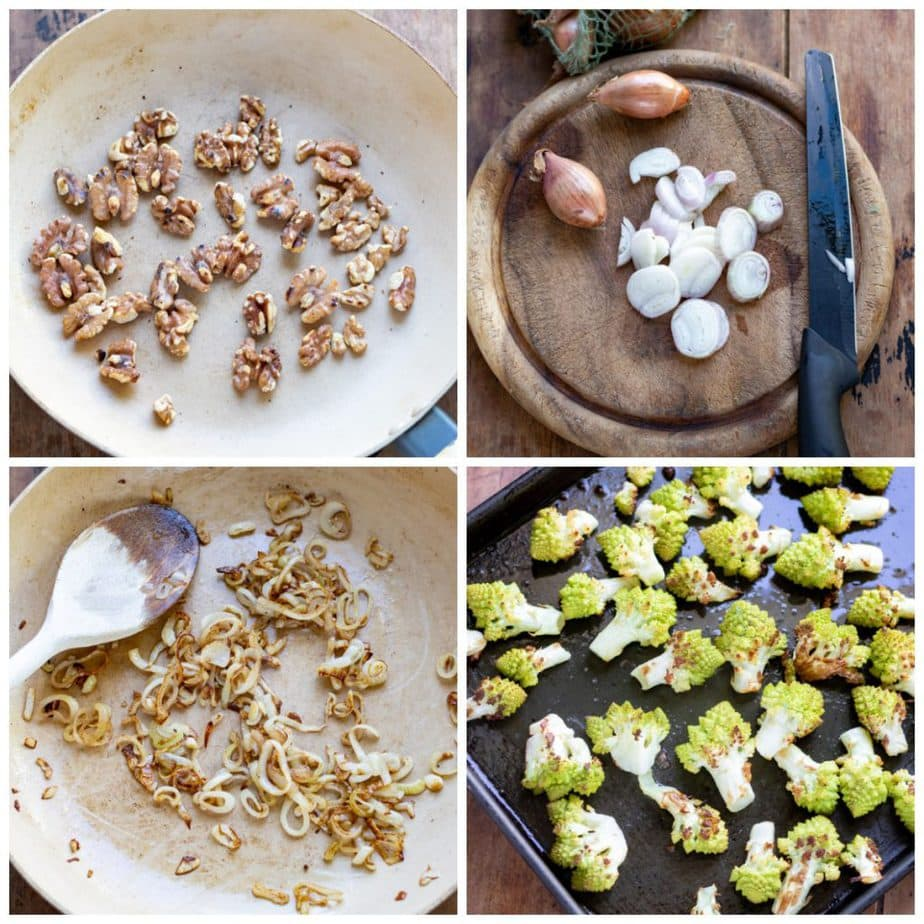 Collage: 1 walnuts in a pan, 2 chopped shallots, 3 fried shallots, 4 roasted romanesco.
