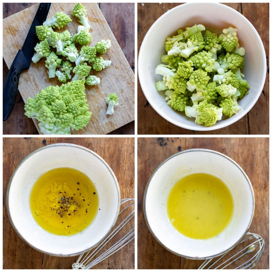 Collage: 1 Chopped romanesco, 2 added to a bowl, 3 dressing ingredients in a bowl, 4 stirred together.