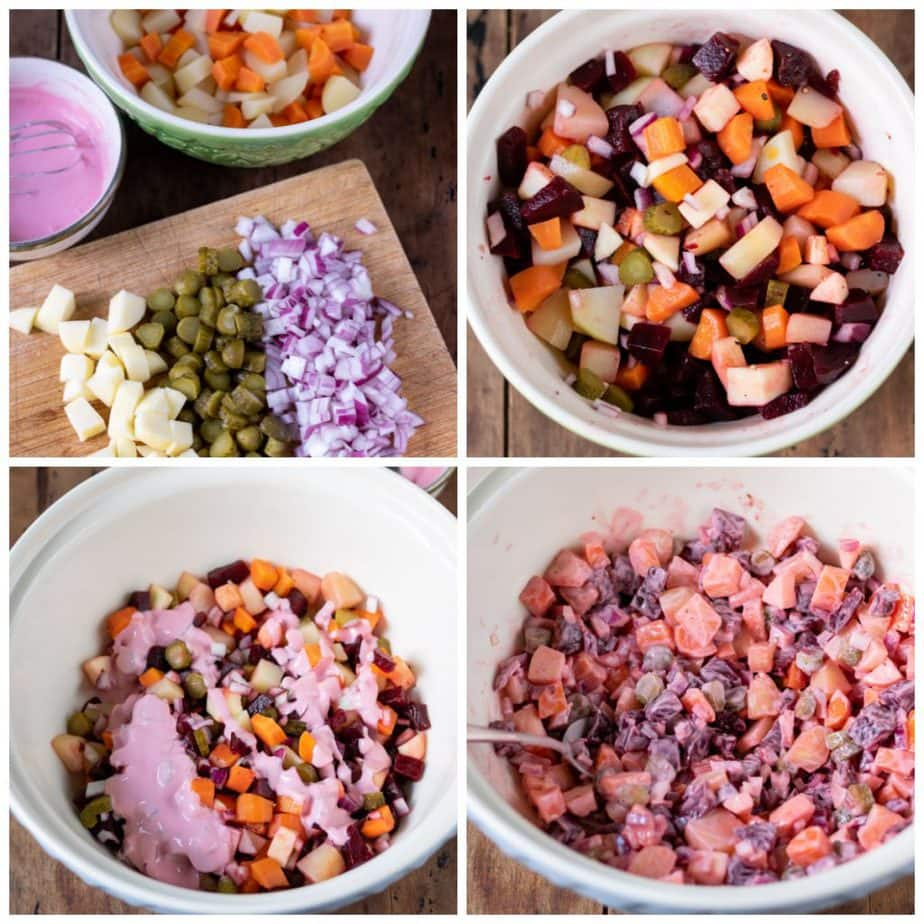 Collage: 1 chopped vegetables, 2 put into a bowl, 3 dressing added, 4 tossed together.