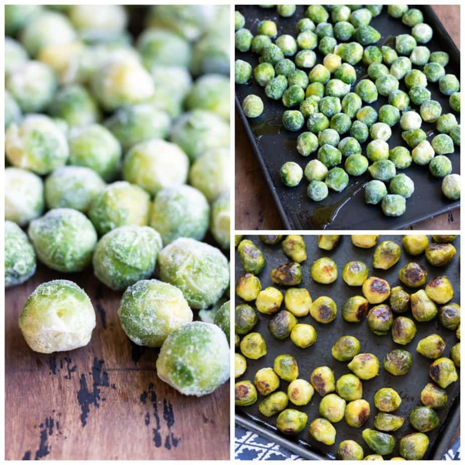 Collage: 1 frozen sprouts, 2 on a tray, 3 roasted.