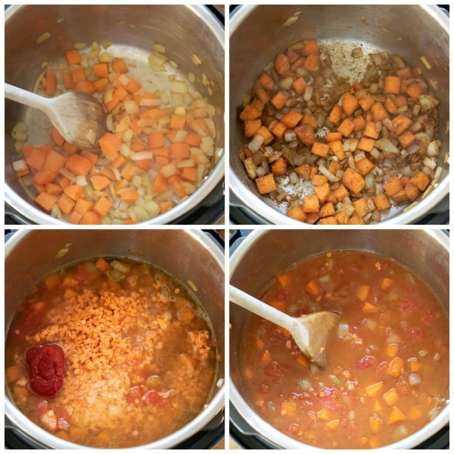 Collage: 1 sauteing carrots and onion, 2 spices added, 3 lentils, water and tomatoes added, 4 stirred together.