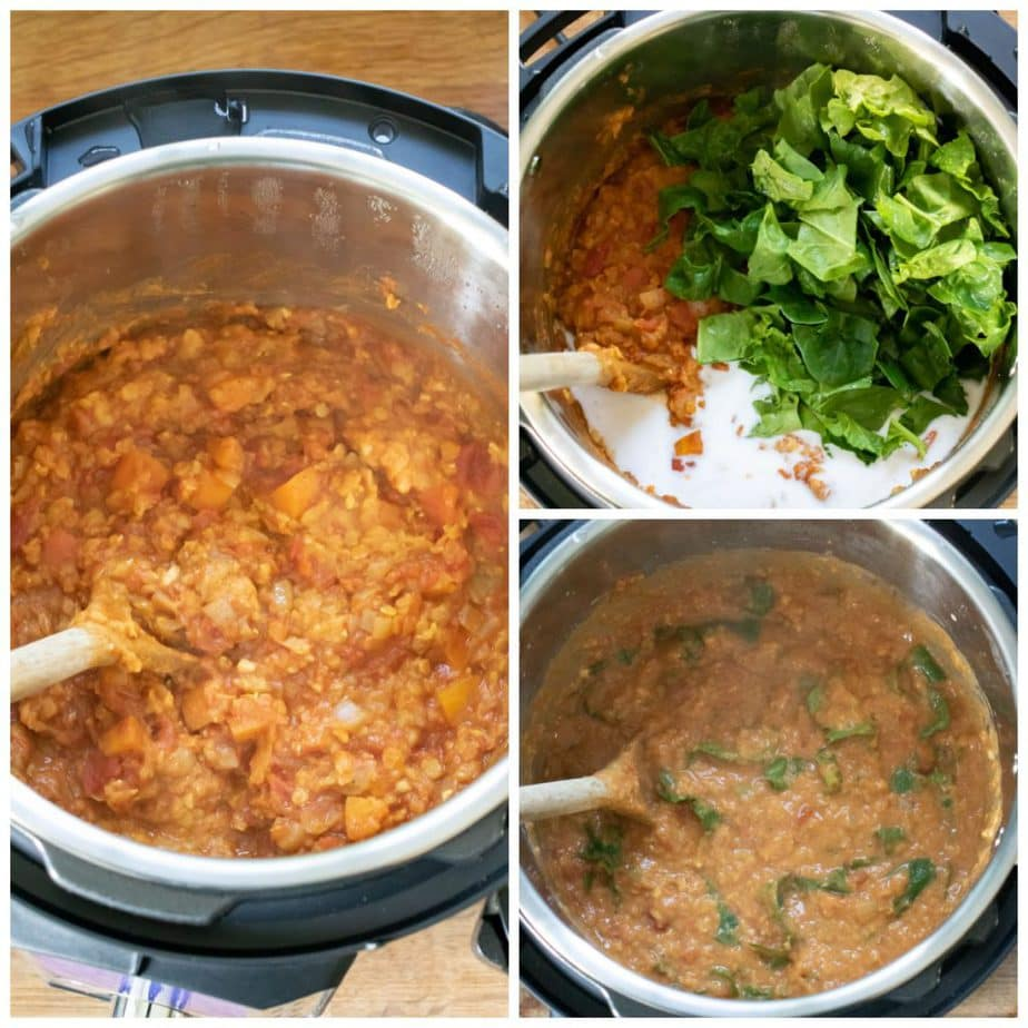 Collage: Instant pot with lentil curry, 2 coconut milk and spinach added, 3 finished curry.