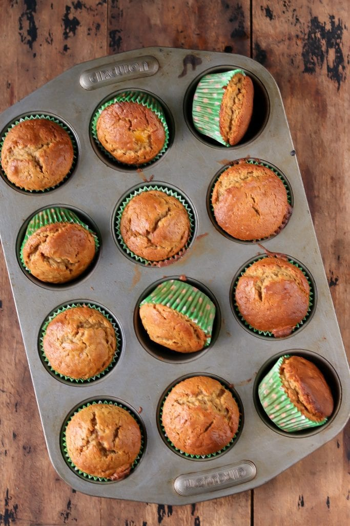 Muffin tray of muffins.