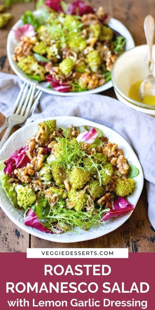 Plate of salad with text: Roasted Romanesco Salad with Lemon Garlic Dressing.