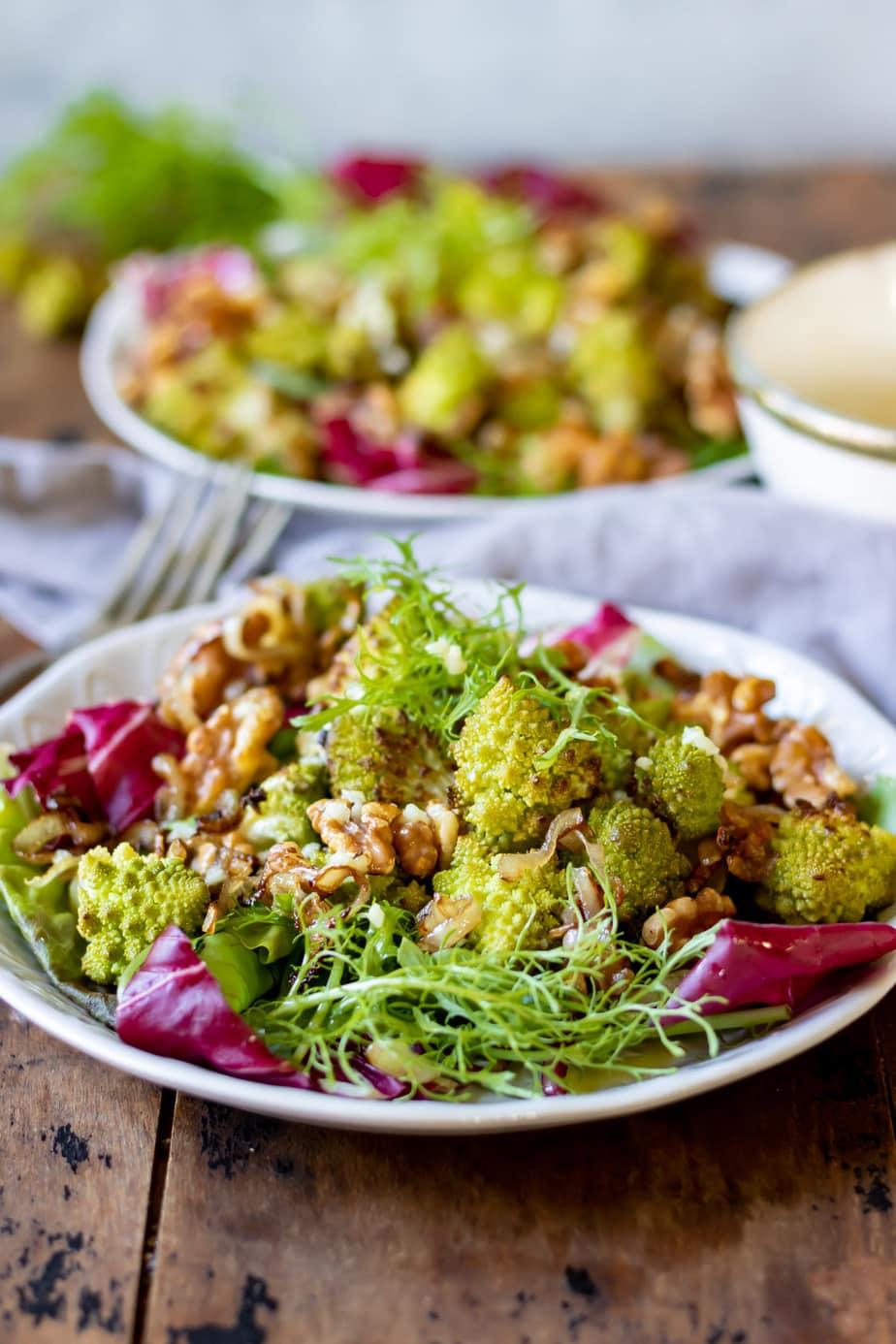 Two plates of romanesco salad.