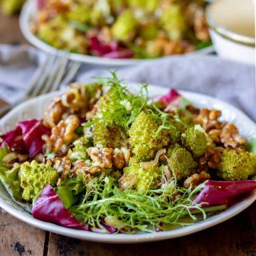 Dish of roasted romanesco salad.