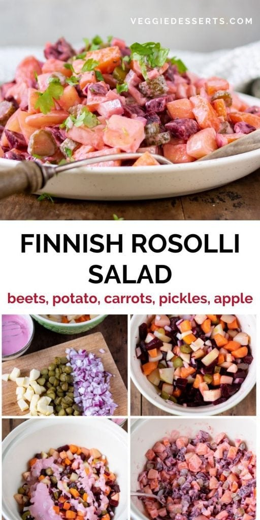 Dish of salad with text: Finnish Rosolli Salad and collage of step images.