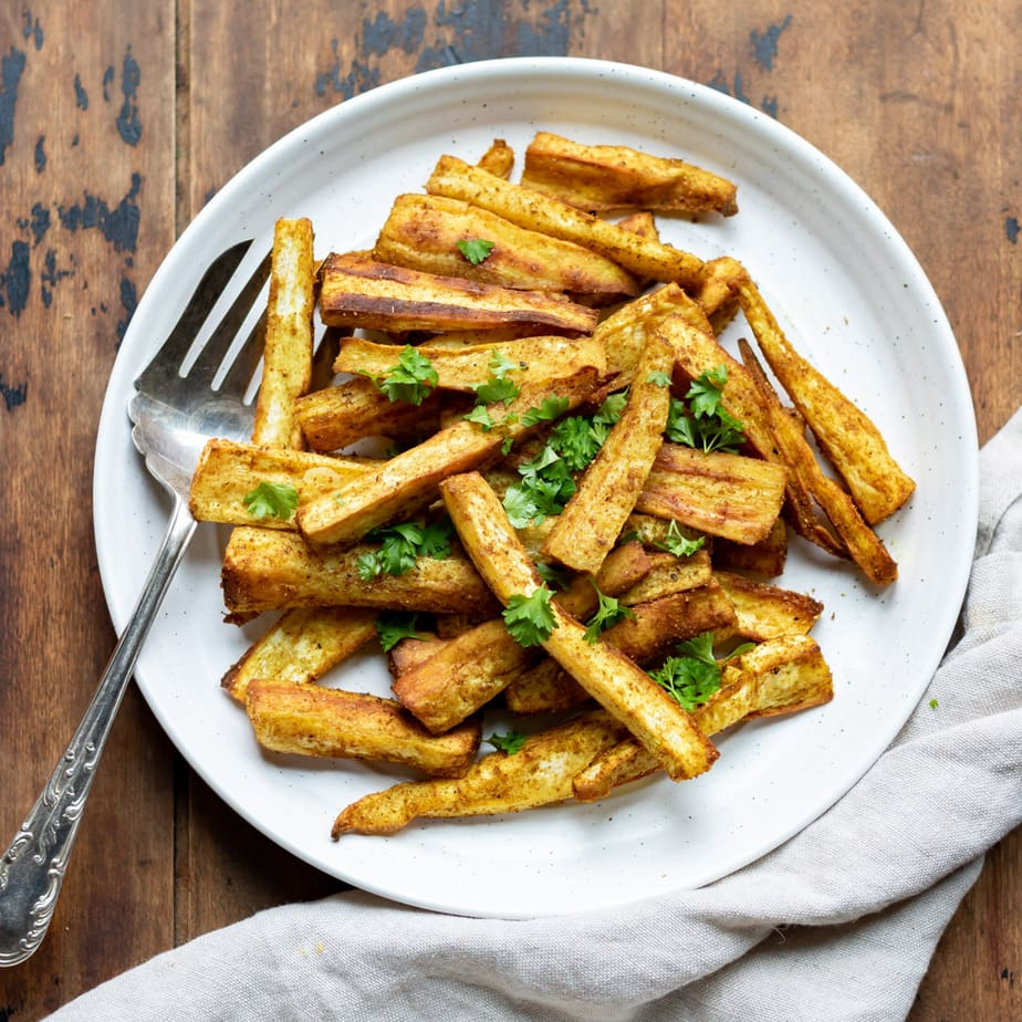 Plate of curried parsnip fries.