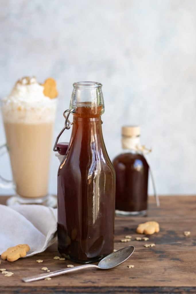Bottle of gingerbread syrup.