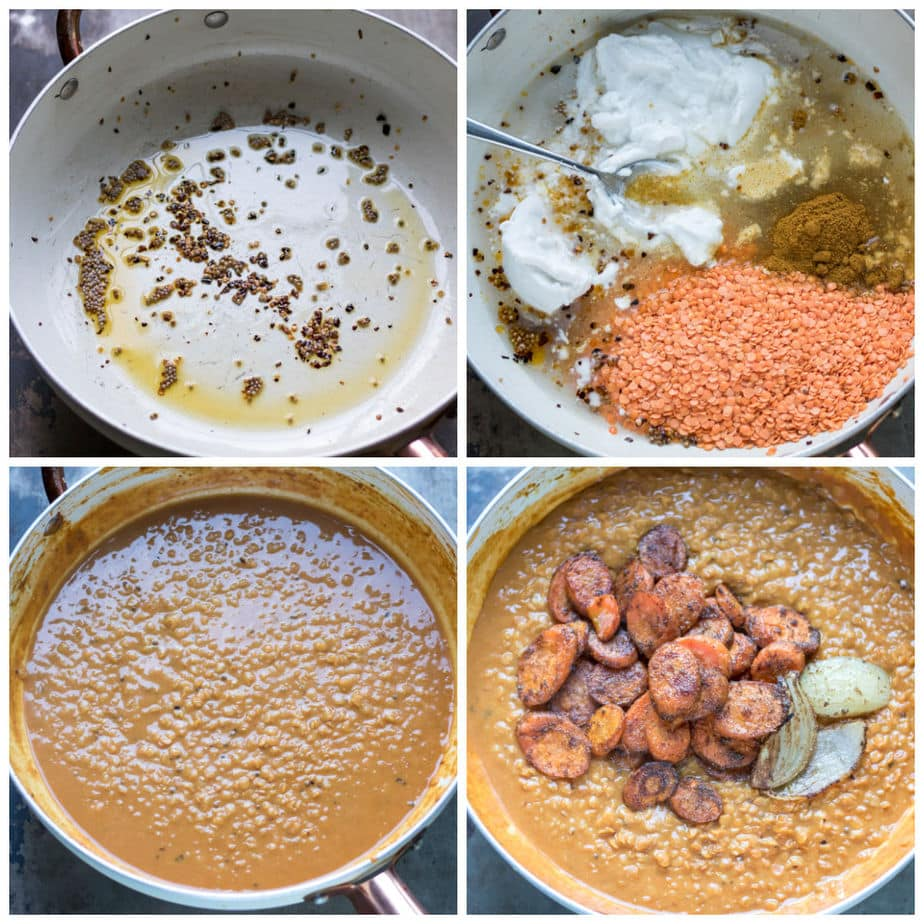 Collage: 1 pan with oil and spices, 2 lentils, spices and coconut milk added, 3 cooking, 4 roasted carrots added.