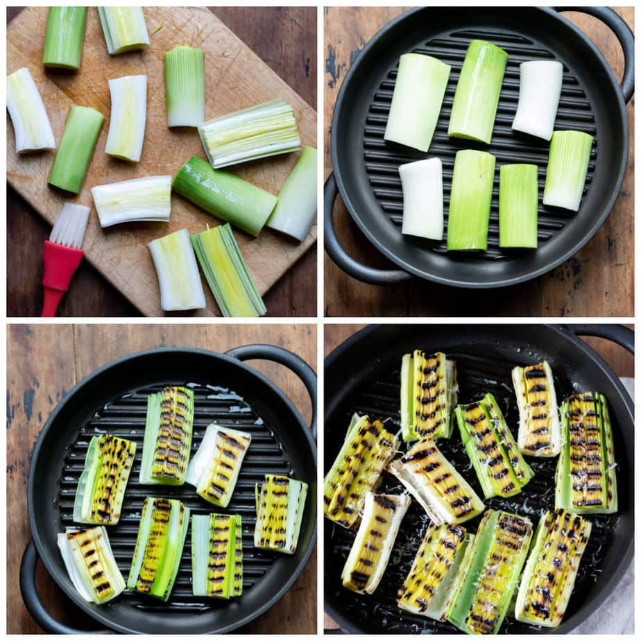 Collage: 1 brushing leeks with oil, 2 on a grill pan, 3 flipped on the grill, 4 served with lemon juice and parmesan.