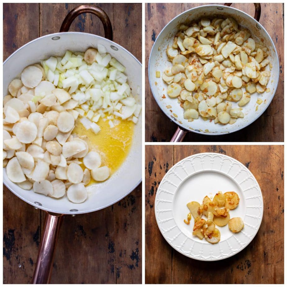 Collage: 1 sunchokes in a pan with butter, 2 cooked, 3 a few tablespoons of them reserved.