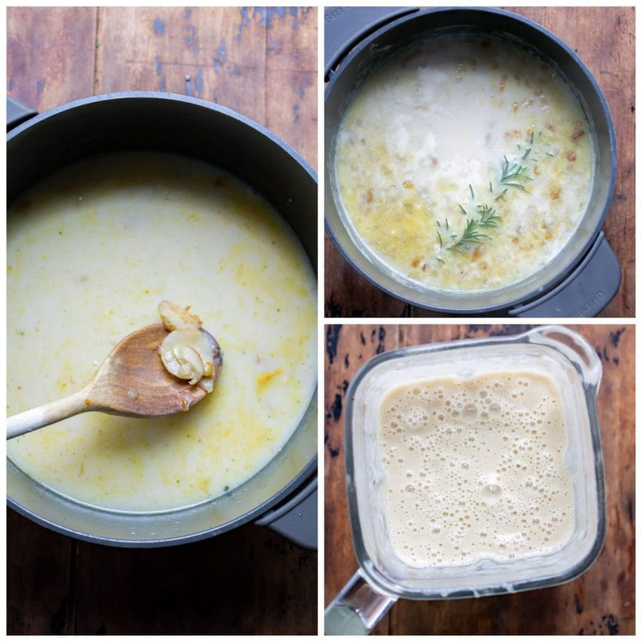 Collage: 1 milk and stock added, 2 rosemary added, 3 blended.