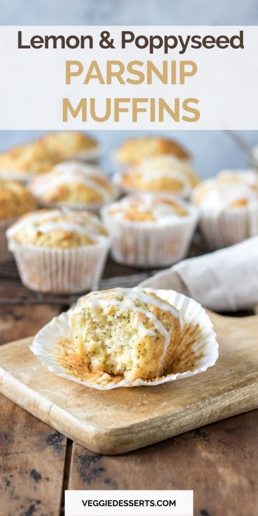 Muffin with a bite out and text: Lemon and poppyseed parsnip muffins.