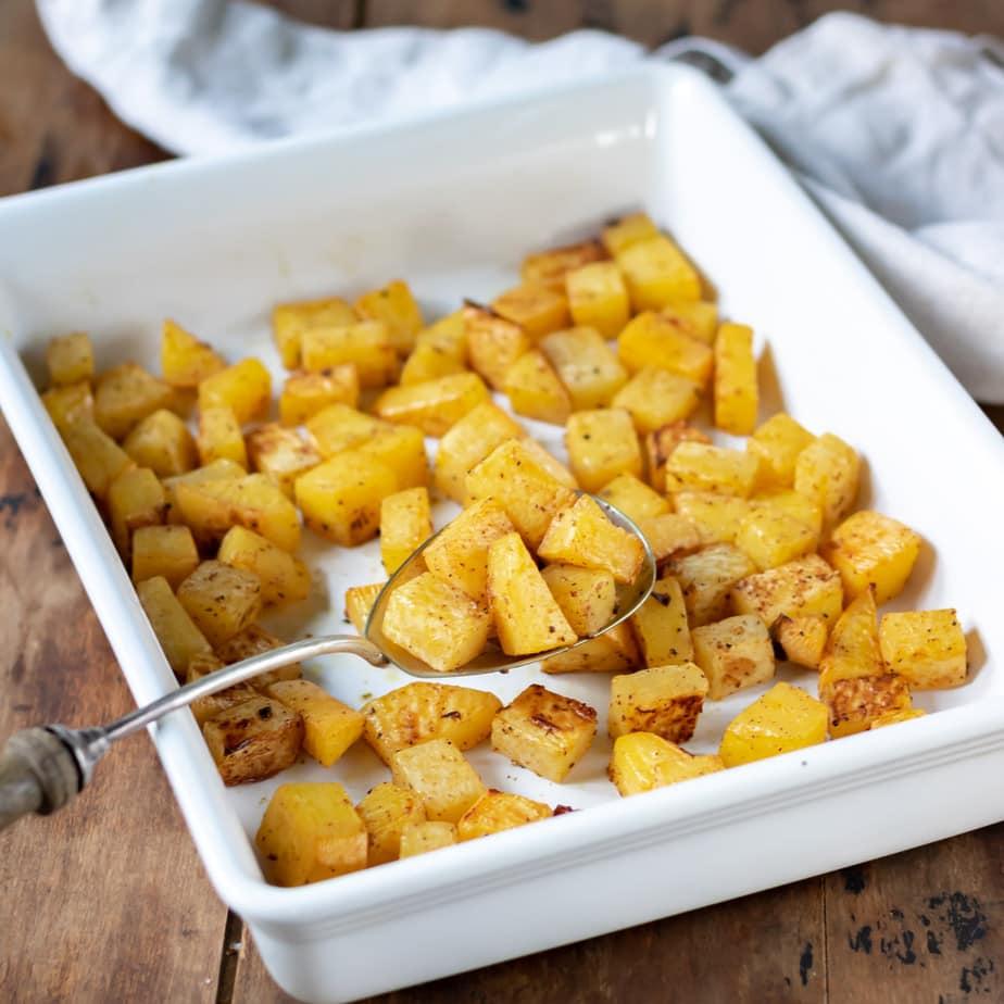 Tray of roasted swede.