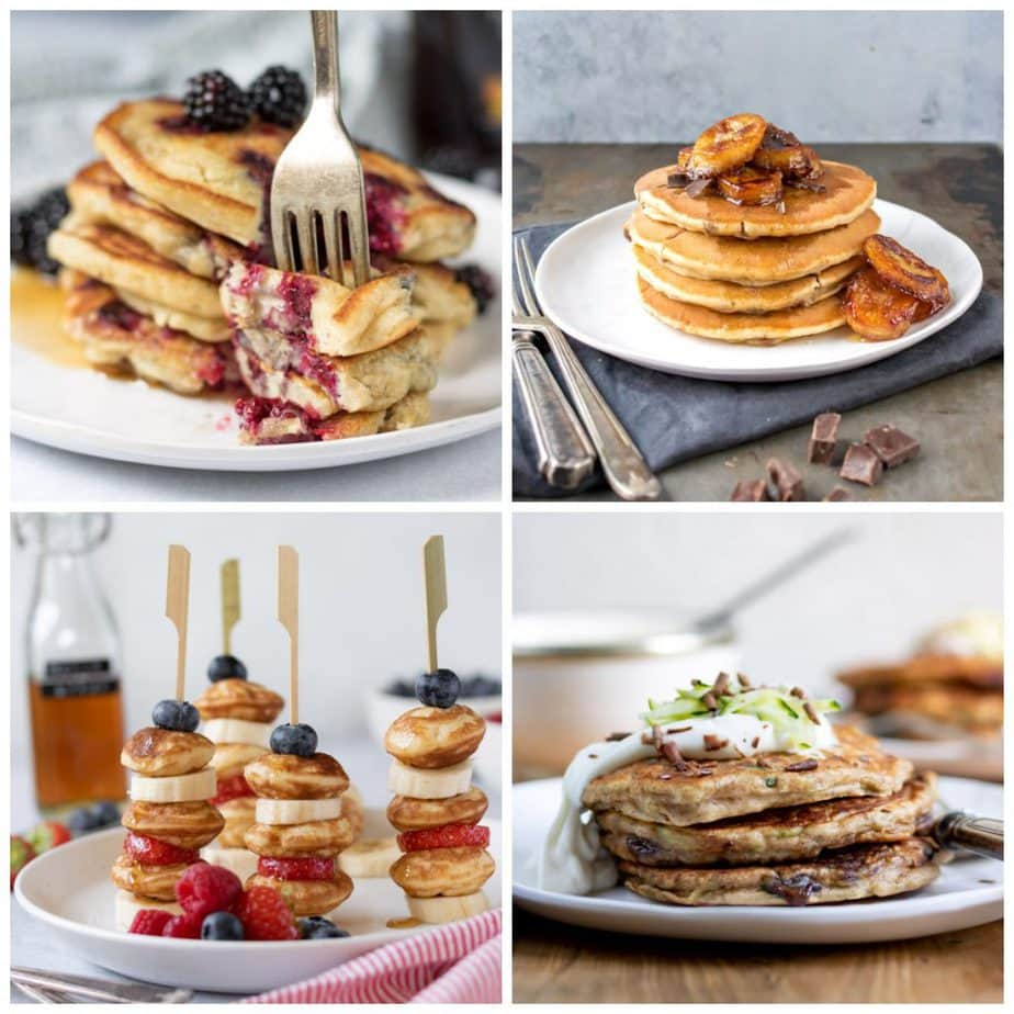 Collage of pancake recipes.