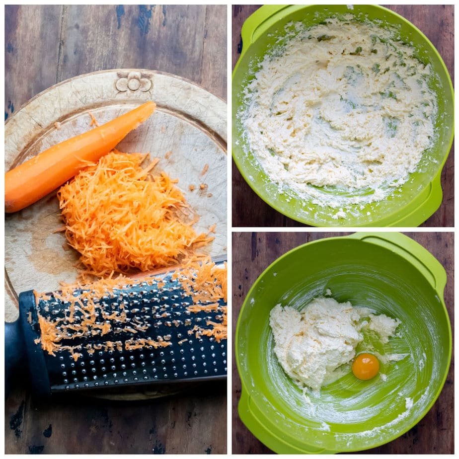 Collage: 1 grating carrot, 2 creamed butter and sugar, 3 egg added.