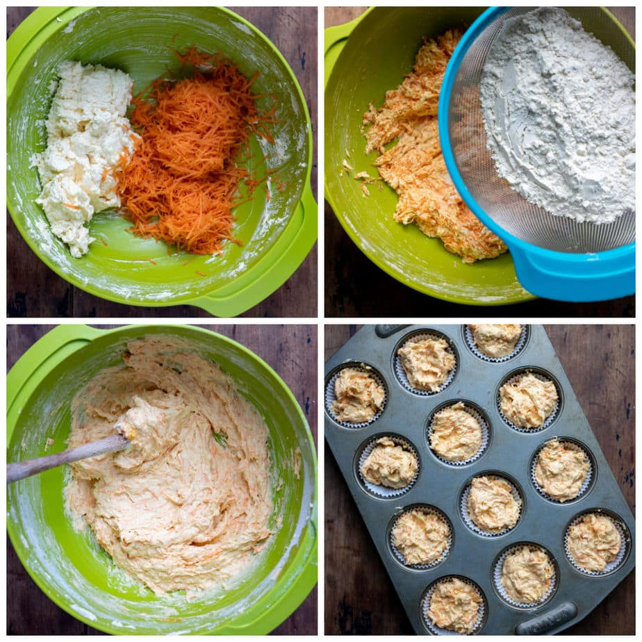 Collage: 1 carrot added to bowl, 2 dry ingredients sifted in, 3 mixed, 4 in muffin tray.