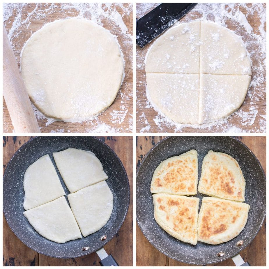 Collage: rolling farls dough, cutting into four, frying one side, frying the other.
