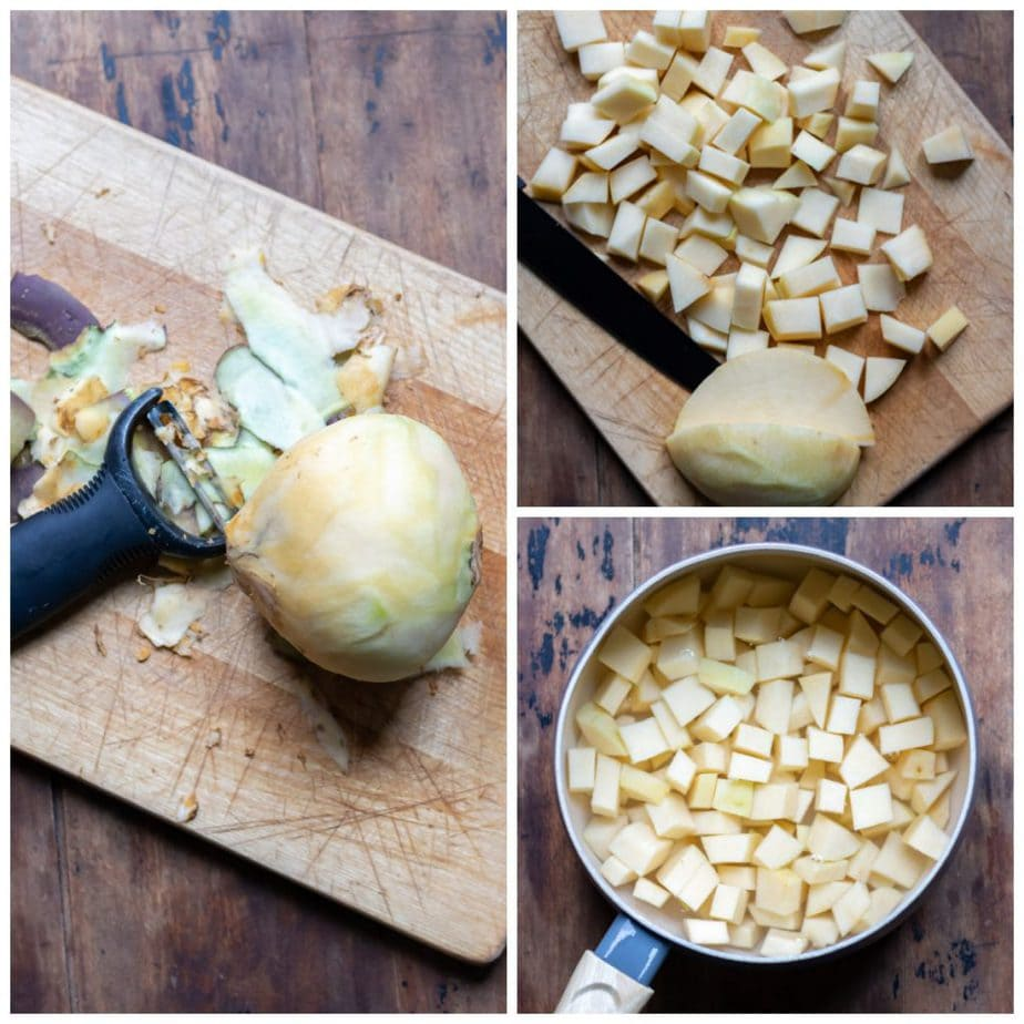Collage: peeling swede, cutting into chunks, in a pan with water.