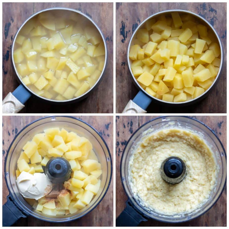collage: 1 swede in a pan, 2 cooked and drained, 3 in a food processor, 4 pureed.