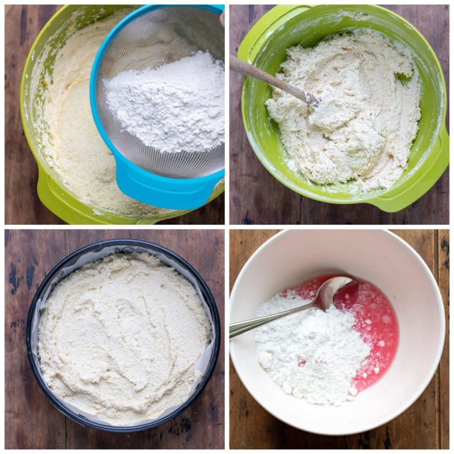 Collage: 1 dry ingredients sifted in, 2 stired, 3 in baking pan, 4, making icing.