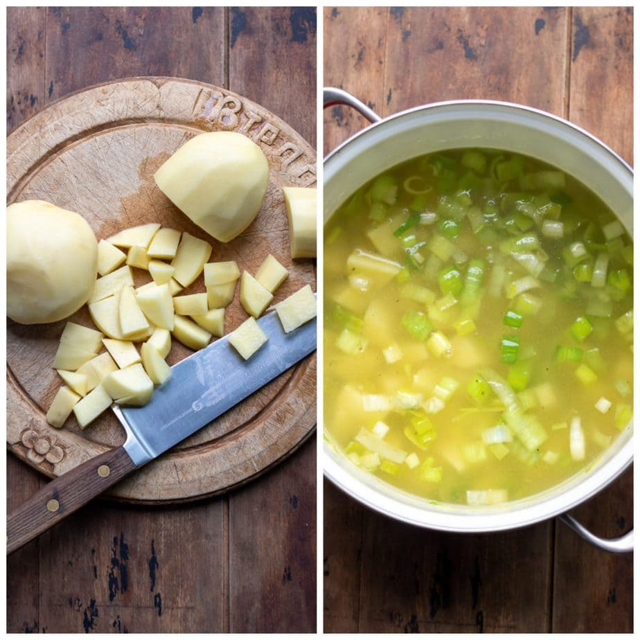 Collage: 1 chopped potatoes, 2 added to pot with stock.