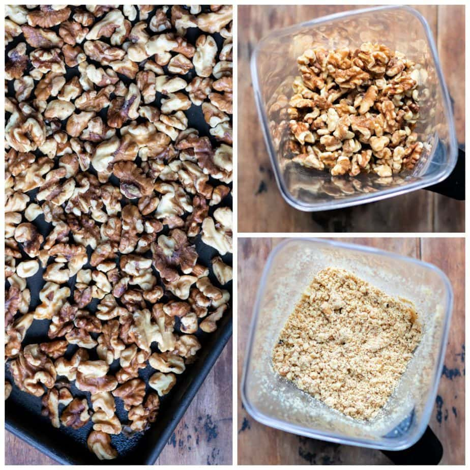 Collage: 1 toasted walnuts on a tray, 2 nuts in a blender, 3 processed to crumbs.